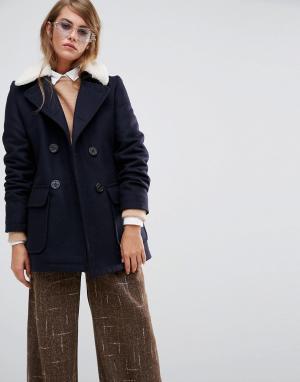 Gloverall Пальто со съемным воротником из овечьей шерсти Reefer. Цвет: темно-синий