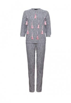Комплект свитшот и брюки iSwag. Цвет: черно-белый