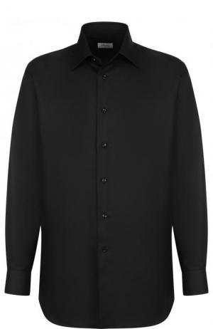 Сорочка из смеси хлопка и шелка с воротником кент Brioni. Цвет: черный
