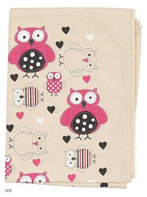 Полотенца Совушки заплатки, 2 шт., с петелькой GrandStyle. Цвет: бирюзовый, розовый, серый