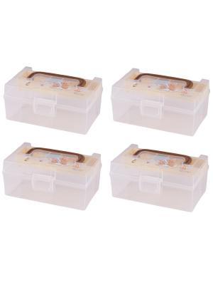 Комплект из 4х контейнеров POLLY для хранения Полимербыт. Цвет: кремовый,коричневый