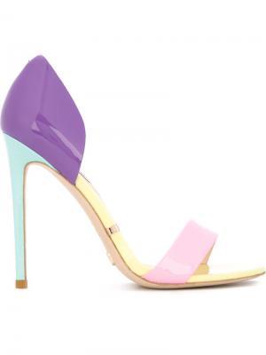 Босоножки колор-блок Gianni Renzi. Цвет: розовый и фиолетовый