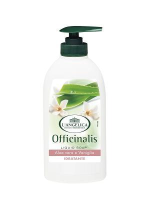 Жидкое мыло УВЛАЖНЯЮЩЕЕ с экстрактом алоэ и ванили  300 мл L'Angelica. Цвет: белый