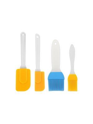 Набор кисточек и лопаток Elan Gallery. Цвет: голубой, желтый