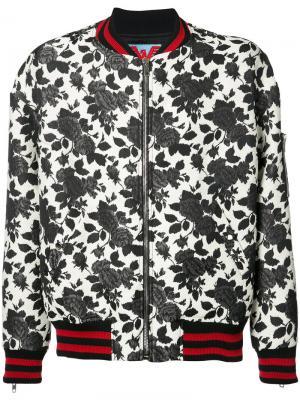Куртка-бомбер с розами Adaptation. Цвет: белый