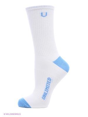 Носки спортивные 3 пары Unlimited. Цвет: белый, голубой