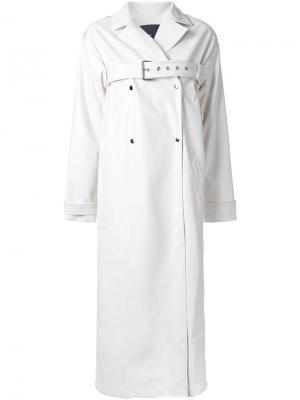 Двубортное пальто с поясом N Duo. Цвет: белый