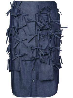 Джинсовая юбка с завязками Facetasm. Цвет: синий
