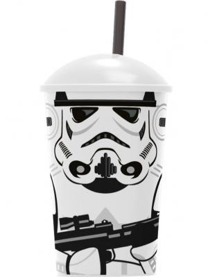 Стакан пластиковый с соломинкой и крышкой (400 мл). Звёздные войны Штурмовики Stor. Цвет: черный