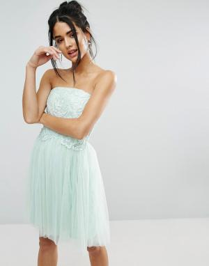 Little Mistress Платье-бандо с кружевной отделкой. Цвет: синий