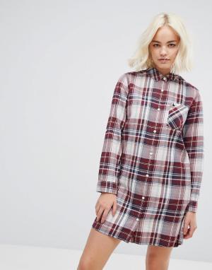 Jack Wills Классическое платье-рубашка в клетку. Цвет: белый