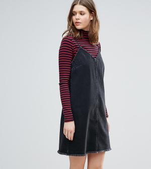 ASOS Tall Черное выбеленное джинсовое платье-комбинация с необработанным краем A. Цвет: синий