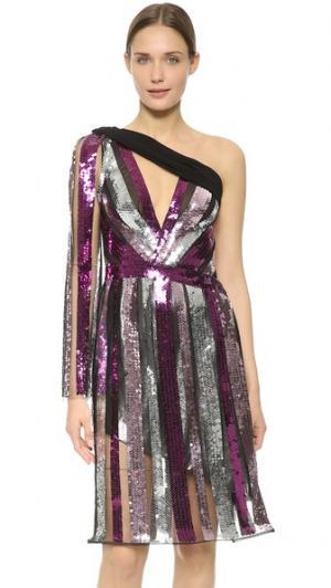 Платье на одно плечо с блестками Rodarte. Цвет: розовато-лиловый/фиолетовый/серебряный