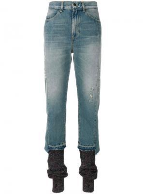 Layered bottom skinny jeans Circus Hotel. Цвет: синий