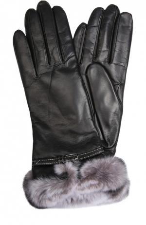 Кожаные перчатки с отделкой из меха кролика Sermoneta Gloves. Цвет: черный