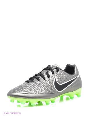Бутсы MAGISTA ORDEN FG Nike. Цвет: черный, салатовый, серебристый
