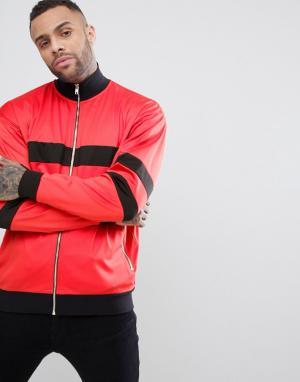 ASOS Спортивная оверсайз-куртка из политрикотажа в стиле колор блок. Цвет: красный
