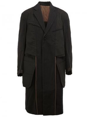 Однобортное пальто Ziggy Chen. Цвет: чёрный