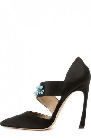Туфли с вышивкой кристаллами Giambattista Valli. Цвет: черный