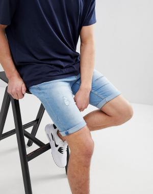 River Island Голубые джинсовые шорты с рваной отделкой. Цвет: синий