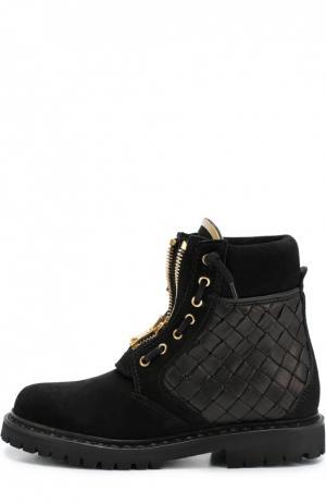 Замшевые ботинки с вставками из плетеной кожи Balmain. Цвет: черный
