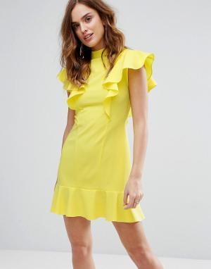Closet London Платье с оборками и баской. Цвет: желтый