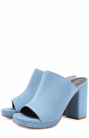 Замшевые мюли на устойчивом каблуке ROBERT CLERGERIE. Цвет: голубой
