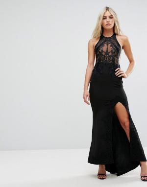 Love Triangle Платье макси с вышитым сетчатым топом и разрезом. Цвет: черный