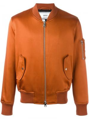 Куртка-бомбер на молнии Ami Alexandre Mattiussi. Цвет: жёлтый и оранжевый