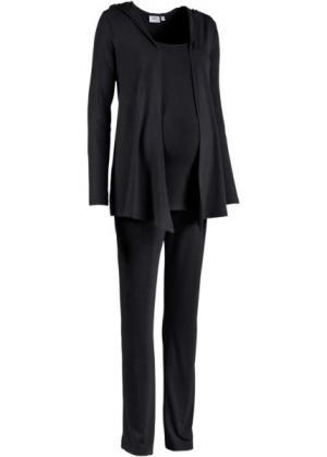 Мода для беременных: спортивные костюм из куртки, брюк и топа (3 изд.) (черный) bonprix. Цвет: черный