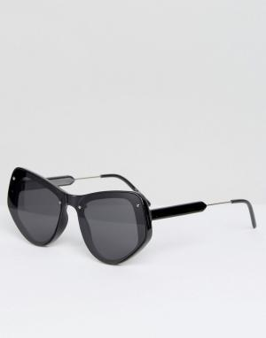 Spitfire Черные солнцезащитные очки кошачий глаз с плоскими стеклами. Цвет: черный