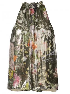 Блуза с оборкой на горловине Monique Lhuillier. Цвет: многоцветный