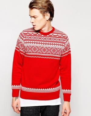 Рождественский джемпер c узором Фэйр-Айл  - Красный Vacant. Цвет: красный