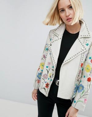 ASOS Кожаная байкерская куртка с цветочной вышивкой. Цвет: белый