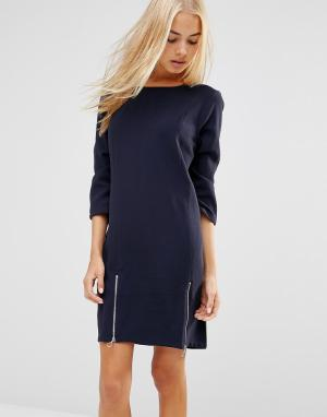 Soaked in Luxury Цельнокройное платье с молниями сбоку. Цвет: синий