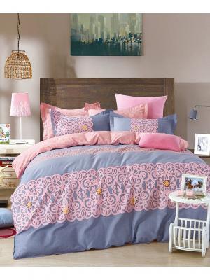 Сатин Евро размер на молниях 1st Home. Цвет: серо-голубой, оранжевый, розовый