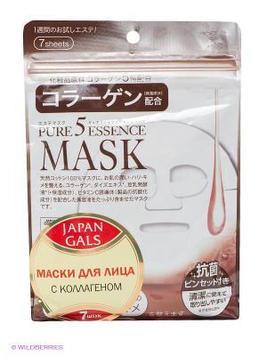 Маска с коллагеном Pure 5 Essential Japan Gals. Цвет: белый, коричневый