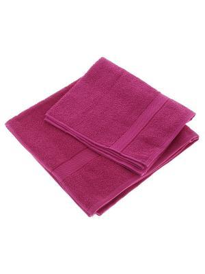 Набор из 2х махровых полотенец малина - 50*90, 70х140, УзТ-НПМ-102-28 Aisha. Цвет: малиновый