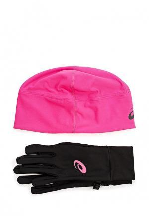 Комплект перчатки и шапка ASICS. Цвет: разноцветный