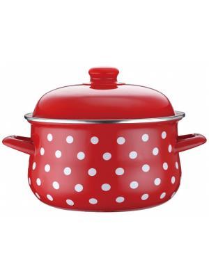 Кастрюля красная в горошек,эмалированная,для всех типов плит Elff Ceramics. Цвет: красный