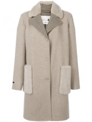 Пальто миди Manzoni 24. Цвет: телесный