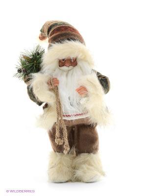 Дед Мороз в шубе MAXITOYS. Цвет: коричневый, бежевый, белый, зеленый