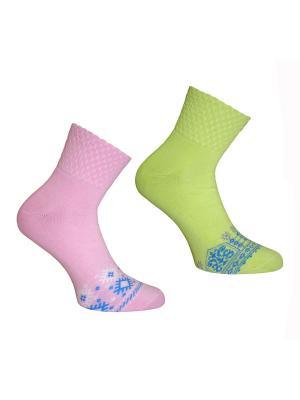 Носки, 2 пары Master Socks. Цвет: розовый, салатовый