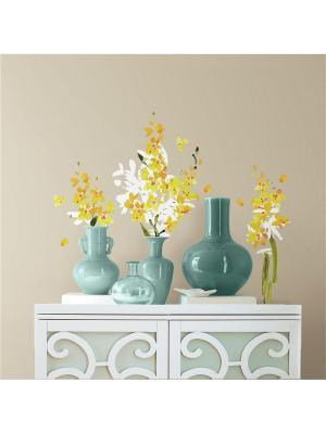 Наклейки для декора - Желтые цветы ROOMMATES. Цвет: белый, голубой, желтый, зеленый, красный, оранжевый, серый, синий, черный