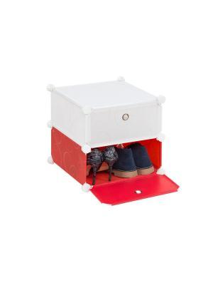 Набор из 2-х складных полок для модульной системы хранения Красно-белая с узором EL CASA. Цвет: красный, белый