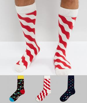 Happy Socks Новогодний подарочный набор из 3 пар носков. Цвет: мульти