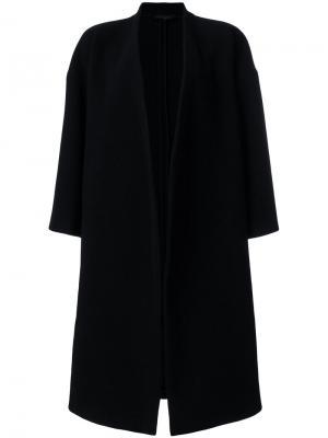 Приталенное пальто с драпировками Ter Et Bantine. Цвет: чёрный