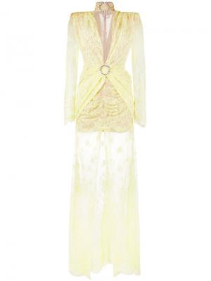 Кружевное длинное платье с длинными рукавами Alessandra Rich. Цвет: жёлтый и оранжевый