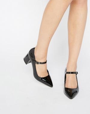 Office Туфли на среднем каблуке с острым носком в стиле Мэри Джейн Man. Цвет: черный