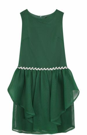 Приталенное мини-платье с декоративной отделкой и кристаллами David Charles. Цвет: зеленый